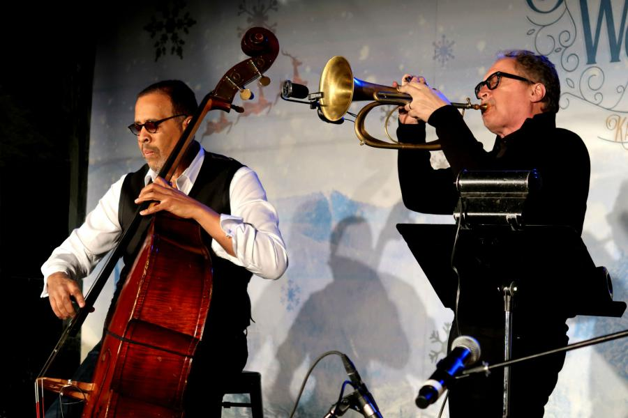 Stanley Clarke and Mark Isham at a Jazz concert organized by the Church of Scientology at Winter Wonderland in the Crossroads Art District of Kansas City, Missouri