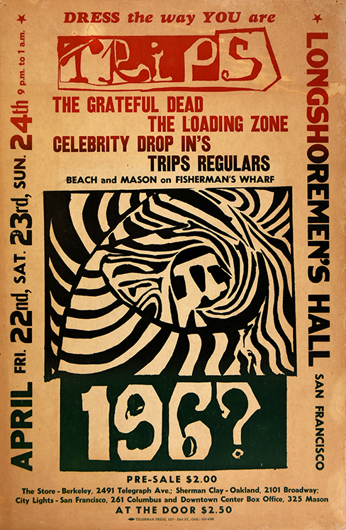 A $10,000 Reward Is Offered for This Trips Grateful Dead Longshoremen's Hall 4/24/66 Concert Poster