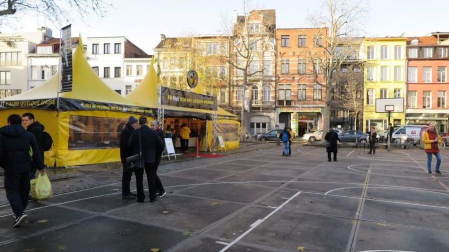 The Scientology Volunteer Ministers' bright yellow pavilion in the heart of the Belgian city of Antwerp.