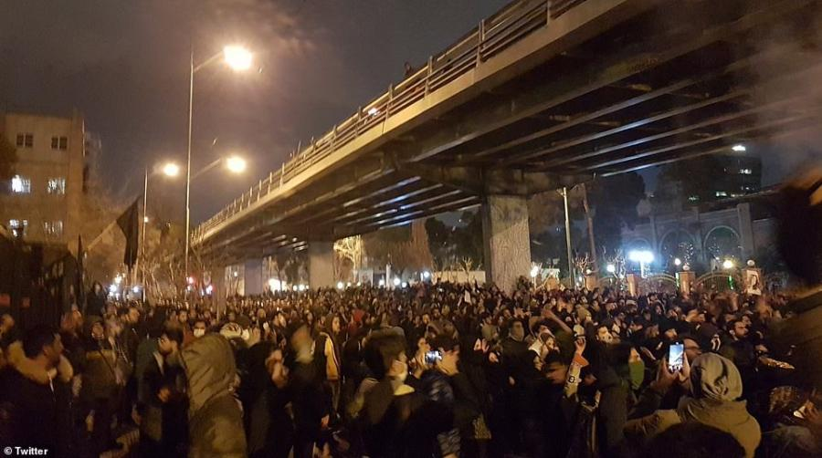 "Iran: Demonstration by people, university students in Tehran with chants of ""death to the dictator,"" ""IRGC shame on you, leave the country alone."""
