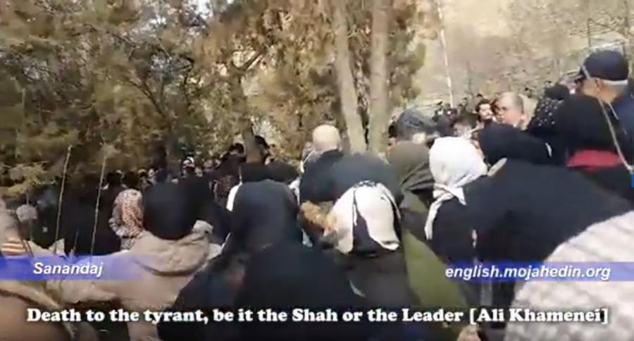 "People of Sanandaj stage demonstration, chanting, ""Khamenei is a murderer"""