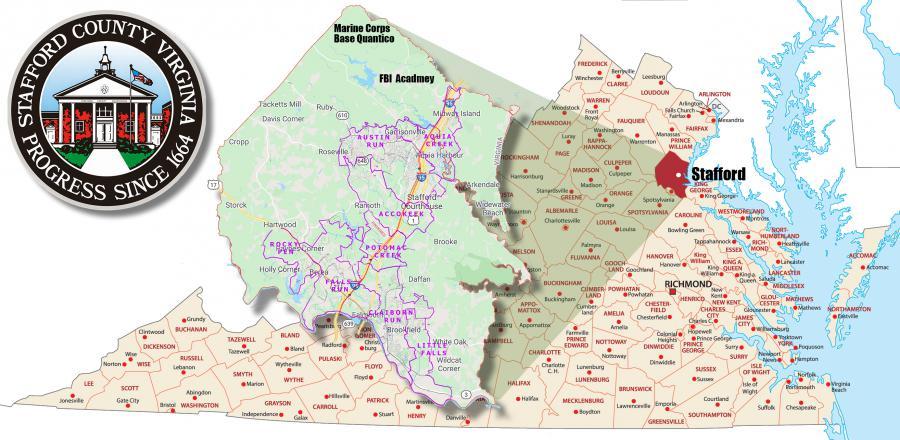 Stafford County, Virginia's Major Sewer Basins.