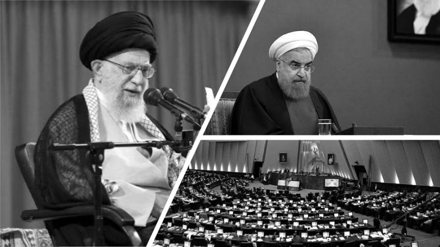 The Iranian regime's supreme leader Ali Khamenei (right) has purged the candidates of the rival faction close to the regime's president Hassan Rouhani (left) as the date of the sham parliamentary elections draws closer