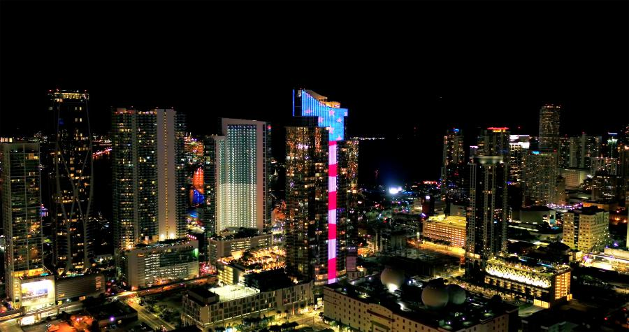 Coronavirus Emergency Salute to Public Servants: 150-foot-tall by 300-foot-wide field of fluttering five-pointed stars and 693-foot glowing vertical stream of red and white stripes will illuminate nightly on Paramount Miami Worldcenter
