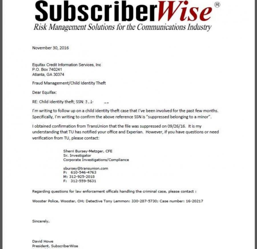 U.S. Credit Czar David Howe's Child Protection Letter to Equifax