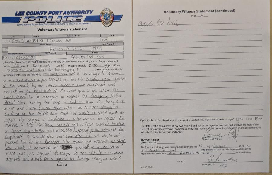 WRONG CAR IDENTIFIED UNDER OATH -- Witness Statement full of false information