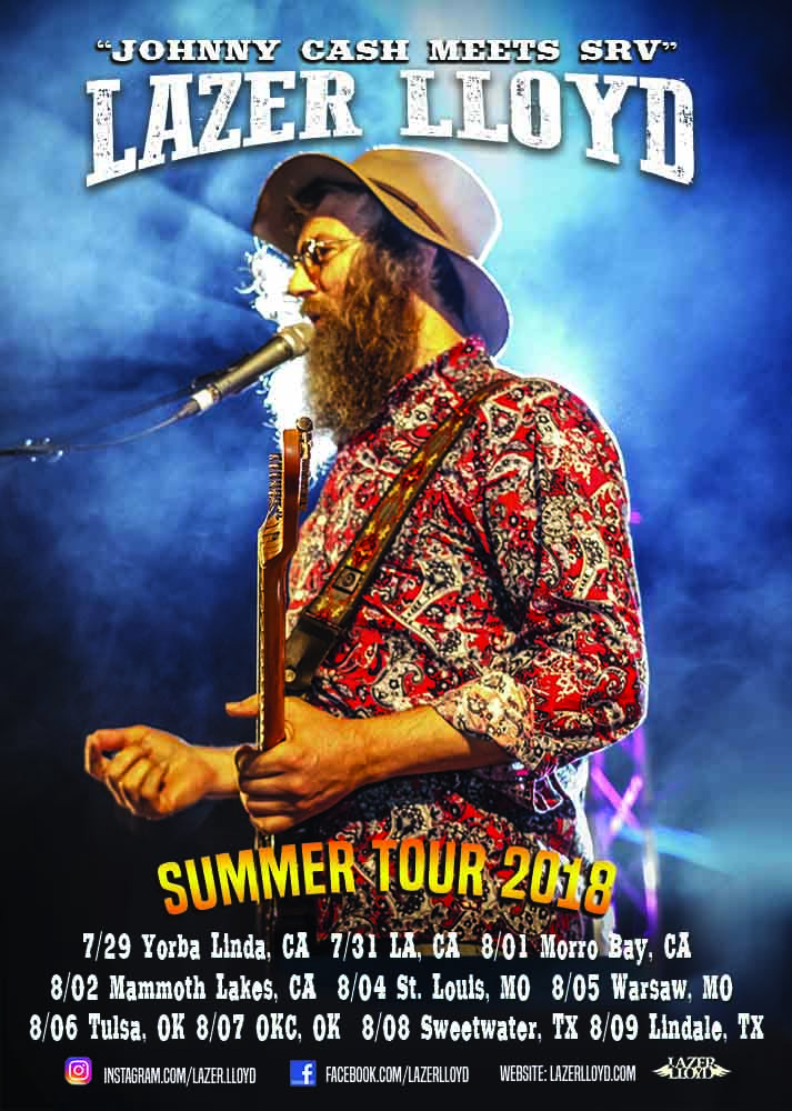 Lazer Lloyd, the singer-songwriter and virtuoso guitarist is kicking off his USA tour with four appearances throughout Southern California with his message of healing and unity through music.