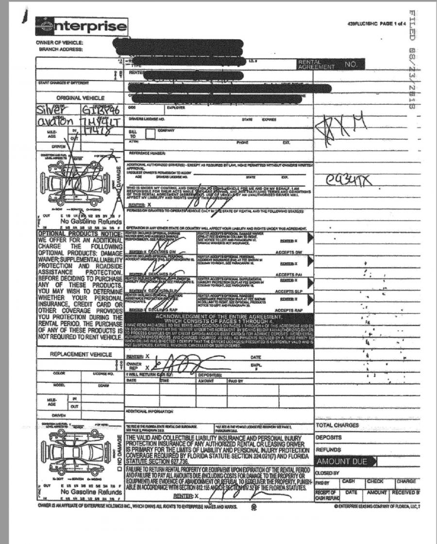 One Lee Court exhibit among a number of others: Enterprise contract undated and questionable for police and others.  Agency fails to safeguard video but presents this rudimentary 'damage slip' as evidence of vehicle condition.