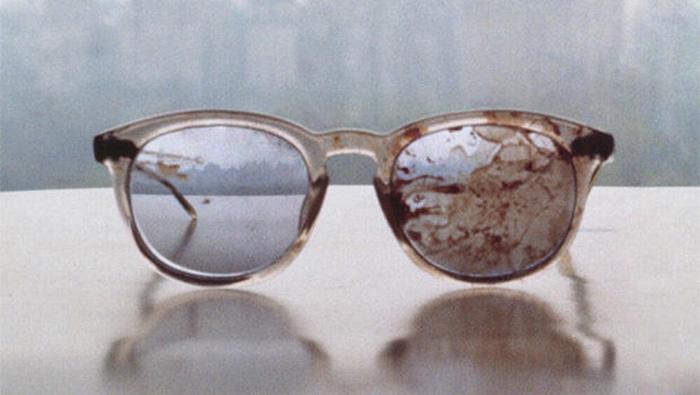 John Lennon's bloody glasses, photo by Yoko Ono