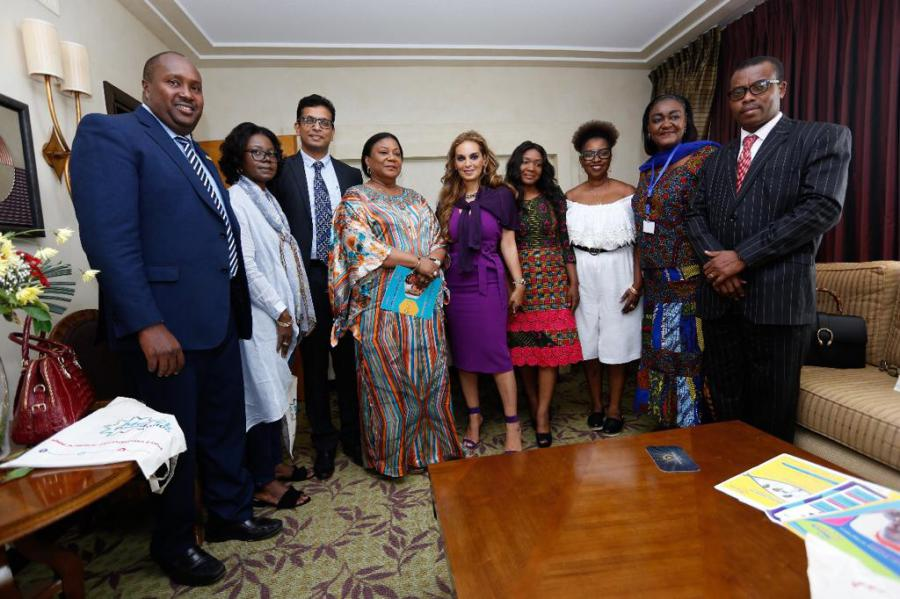 Dr. Rasha Kelej, CEO of Merck Foundation with H.E. REBBECA AKUFO-ADDO, the First Lady of Ghana during the meeting to discuss the selection of the right candidates for the one year online diabetes diploma.