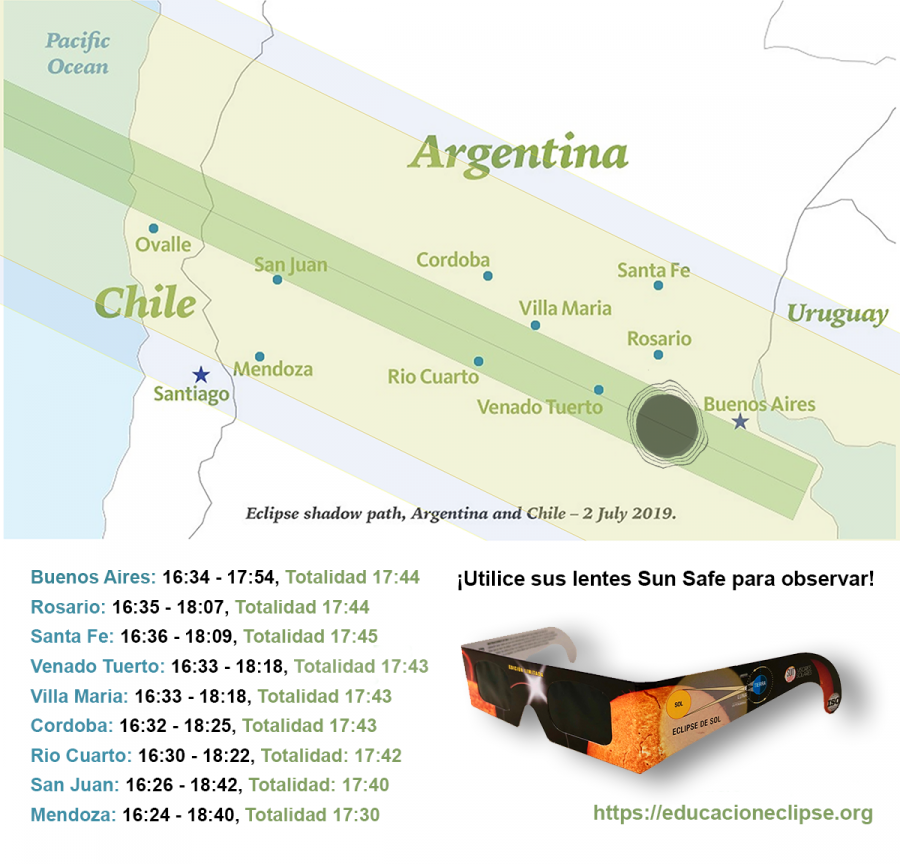 Path of the total Eclipse in Argentina July 2, 2019