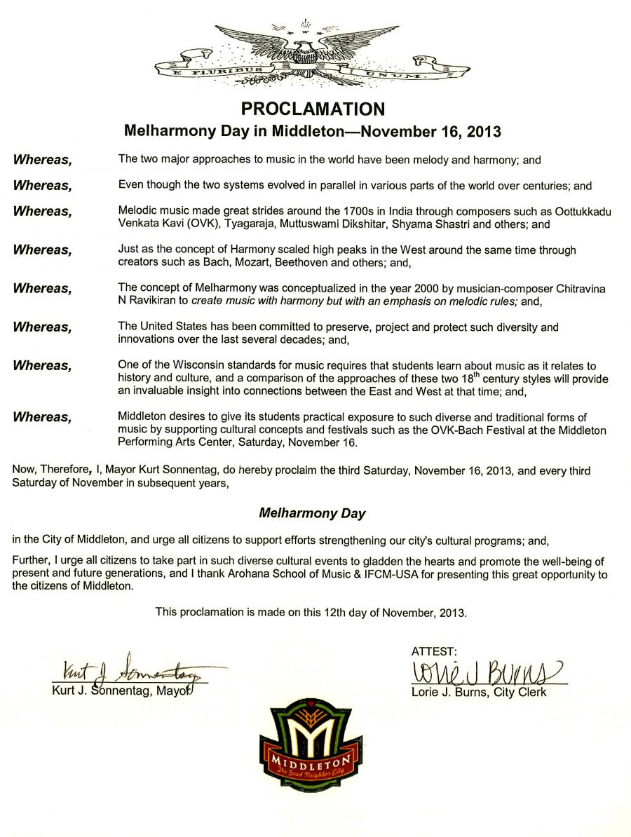 Planet Symphony Day Proclamation from City of Middleton