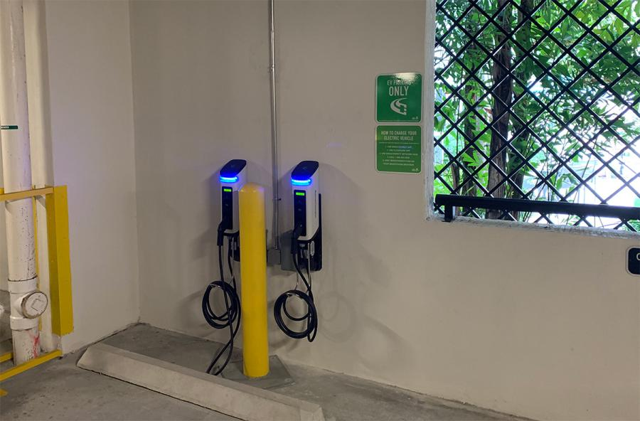 SemaConnect smart Series 6 EV charging stations mounted on parking garage wall