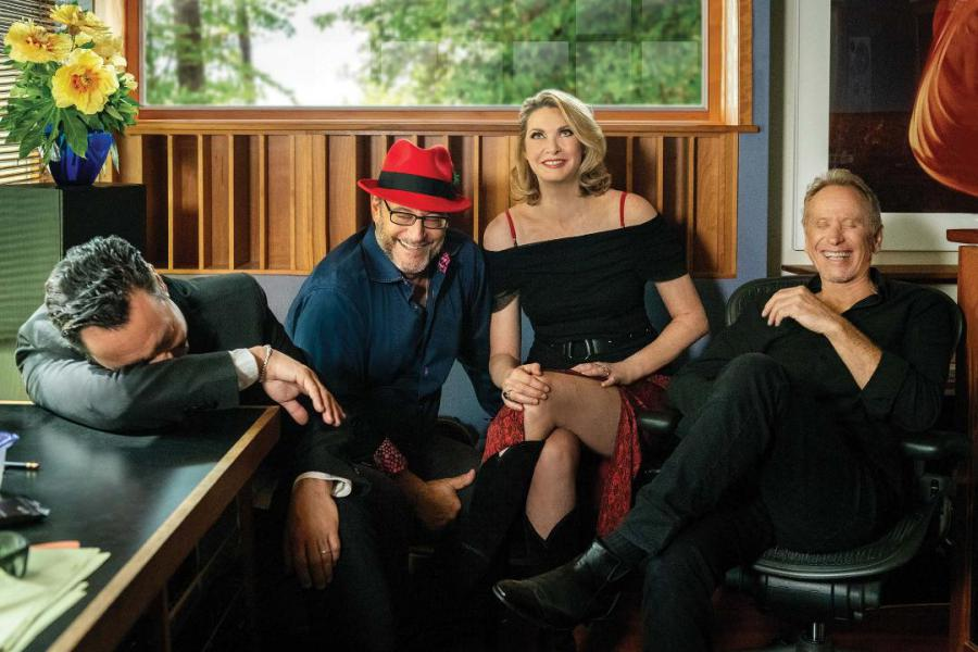 FLOW laughing in studio: Lawrence Blatt, Jeff Oster, Fiona Joy Hawkins, Will Ackerman; photo by Liz Linder