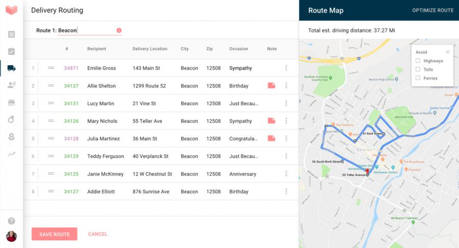 Delivery Routing main screen with map and editor