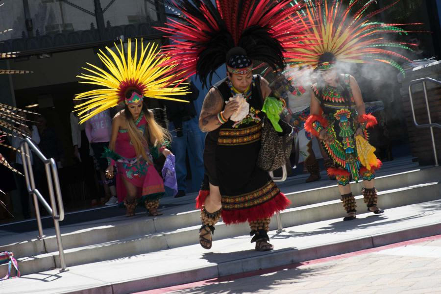 Aztec dancers blessed those attending the first in a series of interfaith forums at the Church of Scientology Los Angeles