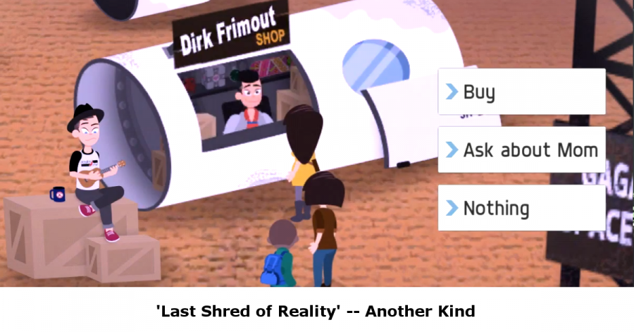 Screenshot from video game 'Last Shred of Reality' shows three characters lined up outside of a shop called 'Dirk Frimout'