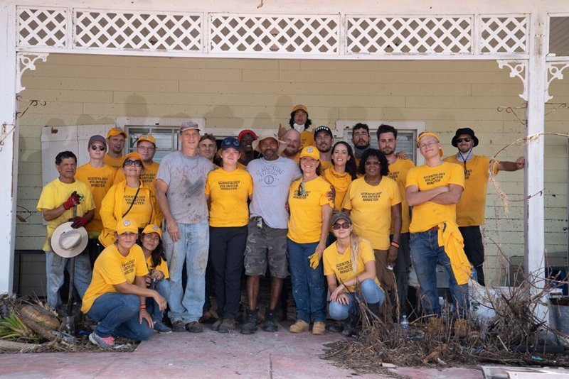 The Volunteer Ministers with Mr. Johnson, after a day's hard work.