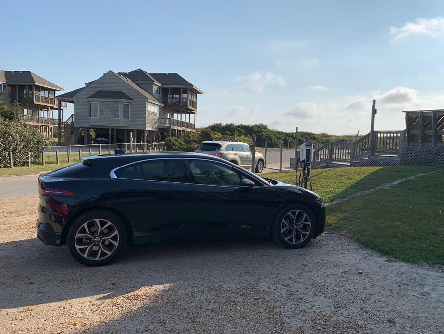 SemaConnect smart EV charging stations on dual pedestal at condo resort in North Carolina
