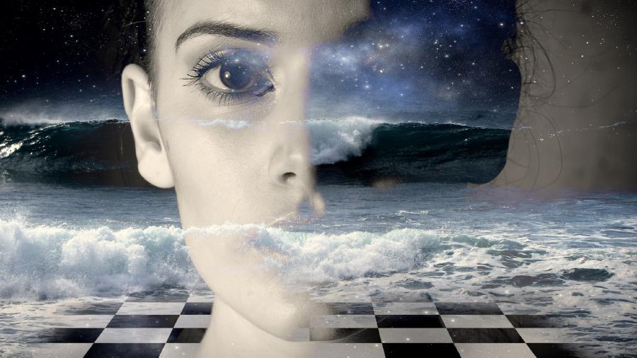 Woman looking through clouds with superimposed chess board.