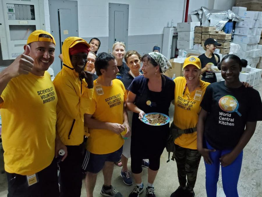 Scientology Volunteer Ministers are providing manpower at World Central Kitchen, the nonprofit that has provided more than 1.2 million meals to victims of Dorian.