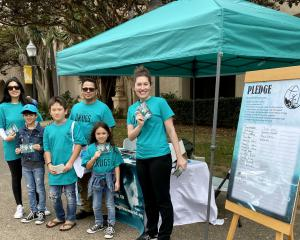 Volunteers set up a booth in Balboa Park to spread a drug-free message in a city facing a drug-abuse crisis.