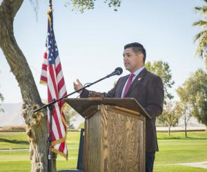 At a Veterans Day Ceremony at Golden Era Golf Course, U.S. Congressman Raul Ruiz honored the men and women who served the nation