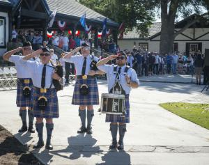The ceremony began with a performance by a Scottish pipe band