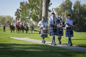 The pipe band was followed by a Sheriff's Department mounted posse.