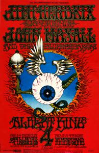 "A $5,000 Reward is Offered For This Jimi Hendrix ""Flying Eyeball"" BG 105 Fillmore Auditorium 2/1/68 Concert Poster"