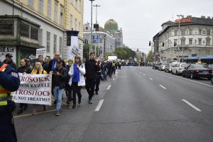 CCHR marched through the streets of Budapest demanding an end to the barbaric practice of electroshock.