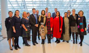 Finnish Government's Gender Equality Prize 2019 - awarded to Equality Now, group shot of Equality Now staff and members of Finnish Government