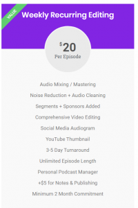 Full pricing information for the $20 editing.