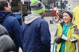 Handing out drug education booklets at the Seattle Seahawks home game