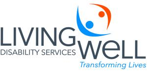 """Orange and Blue lettering of Living Well Disabilities Logo with """"transforming lives"""" beneath"""
