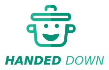 """The Handed Down Logo, a green pot with a smiley face and the words """"handed down"""" beneath it."""