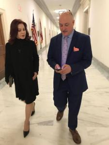 Marty Irby and Priscilla Presley lobbying for passage of the PAST Act in January