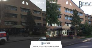 Before & After Photos - 18 Exterior Commercial Aluminum Windows - Mount Royal Manor Building Calgary