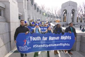 After WWII, the United Nations and the international community vowed never to allow human rights atrocities to occur again. Advocates marched to the WWII Memorial to symbolize dedication to this vow of peace and human rights.