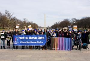 Human rights advocates gather to stand up and march for the rights of all in honor of the 71st Anniversary of the United Nations Universal Declaration of Human Rights.