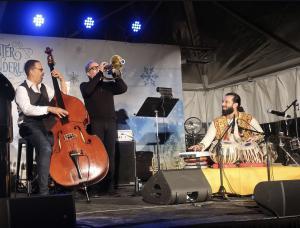 Jazz concert in the Crossroads featured Stanley Clark on bass, Mark Isham on trumpet, Ruslan Sirota on piano and Salar Nader on tabla.