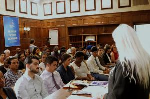 Audience doing  human rights training