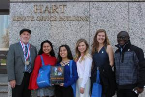 Youth for Human Rights Advocates visiting Members of Congress in support of human trafficking legislation
