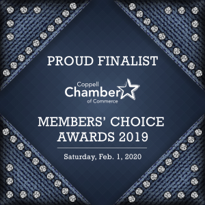 Blue and Silver Image Announcing Finalist for Coppell Chamber Small Business of the Year