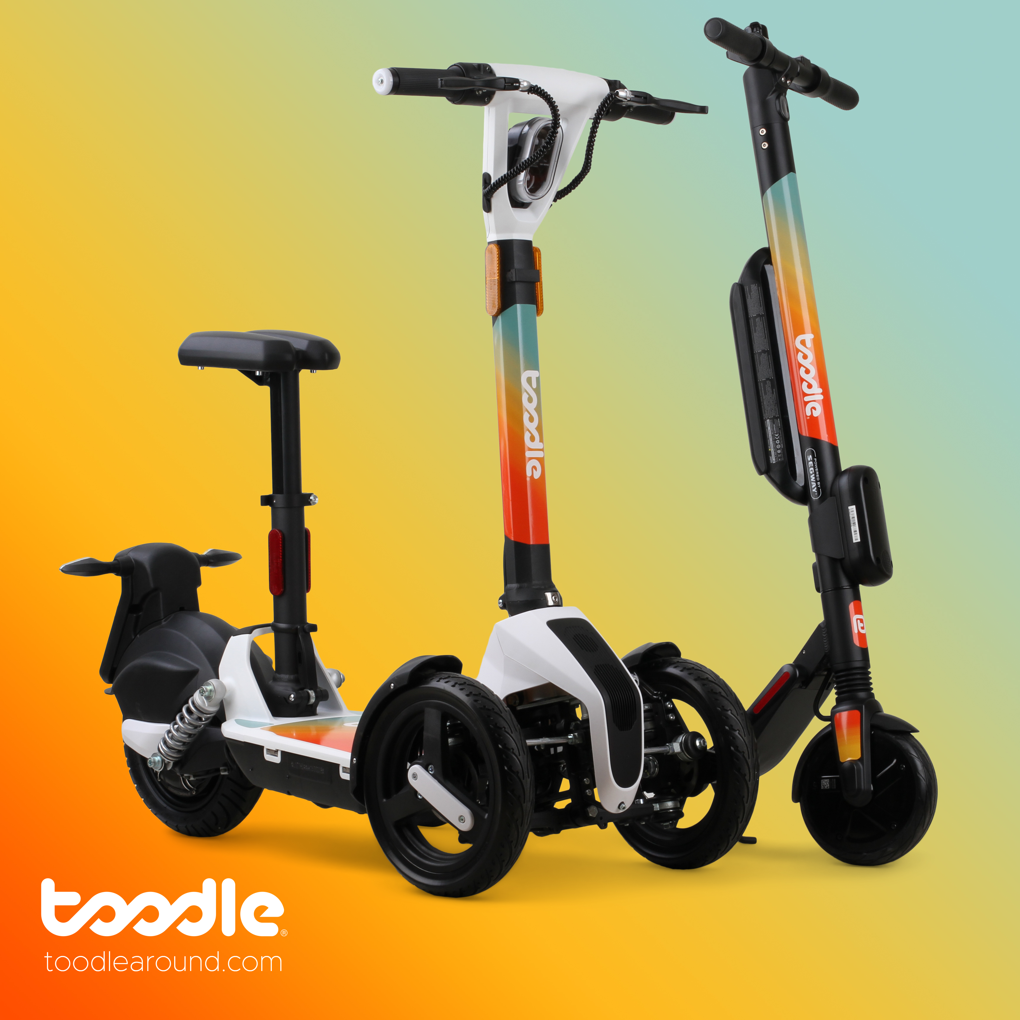 Toodle electric sharing scooter and trike