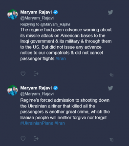 Maryam Rajavi: Regime's forced admission to shooting down the Ukrainian airliner that killed all the passengers is another great crime
