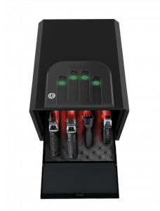 Shown here, open, red interior LED lighting illuminates four pistols staged in GV2050. Molded keypad features green back-lighting in each finger groove. Rubber keypads with raised dots ensure correct placement and reduce slipping with sweaty hands during code entry.