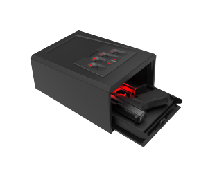 Shown here, open and presenting a handgun, is a preview of the GunVault MiniVault Biometric, to be offered later in 2020. The latest biometric scan technology is embedded in an enhanced, molded entry pad with backlit finger wells for intuitive contact with scan surface.