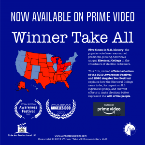 """Winner Take All,"" explains the Electoral College, and is available to watch on Prime Video in the U.S. and UK."