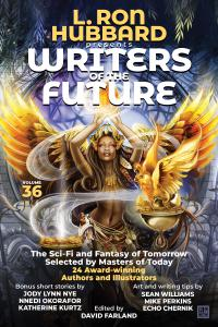 A dark skinned priestess protects the magical eggs of the Phoenix Bird as the cover for L. Ron Hubbard Presents Writers of the Future Volume 36.